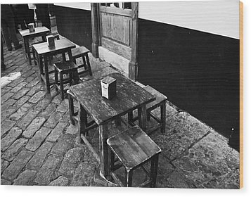 Wood Print featuring the photograph Madera Stools In Black by Rick Bragan