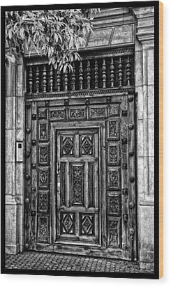 Wood Print featuring the photograph Maderia Door In Black by Rick Bragan