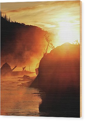 Madison River At Sunrise Wood Print by by Adam Christensen