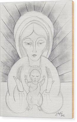 Madonna And Child Wood Print by John Keaton