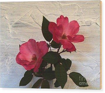 Magenta Roses Wood Print by Marsha Heiken