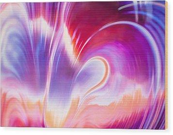 Magenta Wave Wood Print by Adam Pender