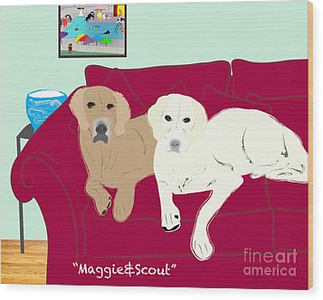 Maggie And Scout Wood Print by Cheryl Snyder