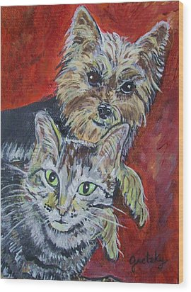 Maggie Mae And Buddy Wood Print by Paintings by Gretzky