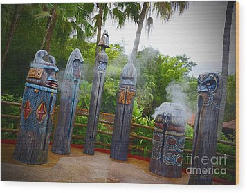 Magic Kingdom - Tiki Statues Wood Print by AK Photography