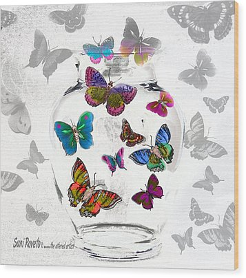 Magic Moth Jar Wood Print by Suni Roveto