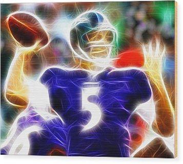 Magical Joe Flacco Wood Print by Paul Van Scott