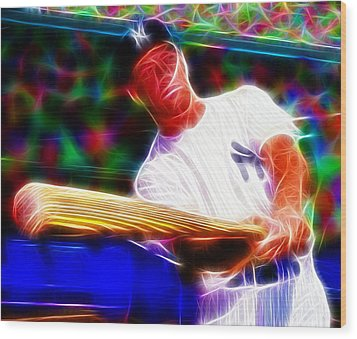 Magical Mickey Mantle Wood Print by Paul Van Scott