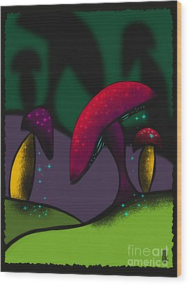 Magical Mushrooms Wood Print