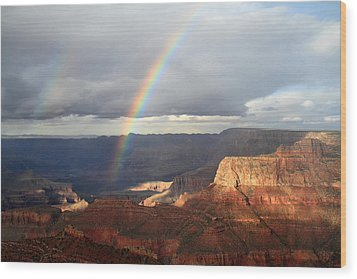 Magical Rainbow In The Grand Canyon Wood Print by Pierre Leclerc Photography