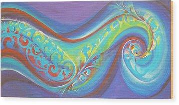 Magical Wave Water Wood Print by Reina Cottier