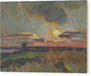 Magical World Of Sunset Wood Print