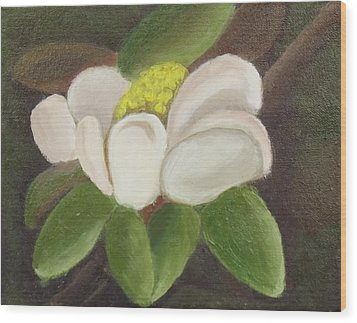 Wood Print featuring the painting Magnificient Magnolia by Margaret Harmon