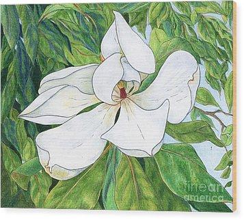 Magnolia Wood Print by Linda Battles