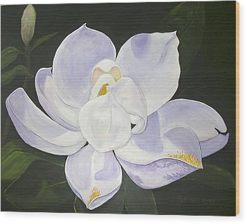 Wood Print featuring the painting Magnolia by Mary Kay Holladay