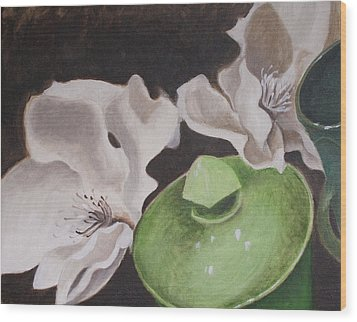 Magnolias With Green Sugar Bowl Wood Print