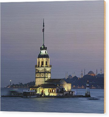 Maiden's Tower  At Sunset Wood Print by Ayhan Altun