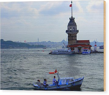 Wood Print featuring the photograph Maidens Tower Istanbul by Lou Ann Bagnall