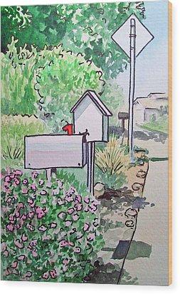 Mail Boxes Sketchbook Project Down My Street Wood Print by Irina Sztukowski
