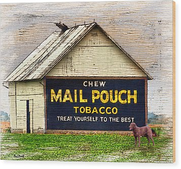 Wood Print featuring the digital art Mail Pouch Barn by Mary Almond