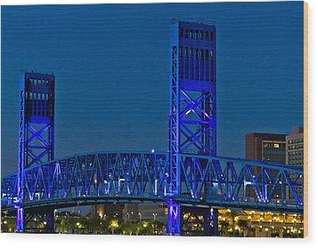 Main Street Bridge Jacksonville Wood Print by Debra and Dave Vanderlaan