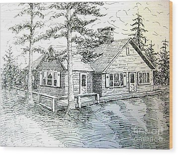 Wood Print featuring the drawing Maine House by Gretchen Allen