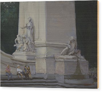 Maine Monument Summer 2012 Wood Print by Walter Lynn Mosley