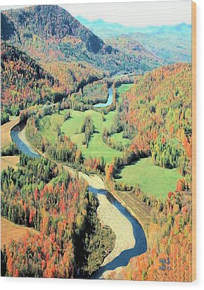 Wood Print featuring the digital art Maine River by Richard Stevens