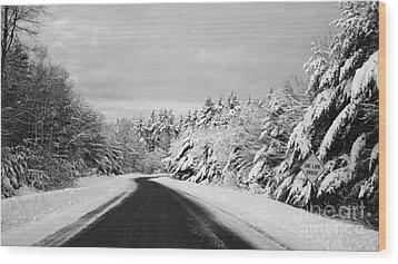 Maine Winter Backroad - One Lane Bridge Wood Print by Christy Bruna