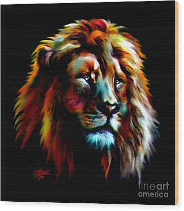 Wood Print featuring the painting Majestic Lion by Elinor Mavor