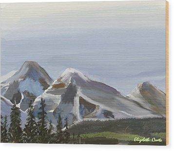 Wood Print featuring the painting Majestic Mountains by Elizabeth Coats