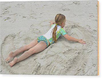 Wood Print featuring the photograph Making A Sand Angel by Maureen E Ritter