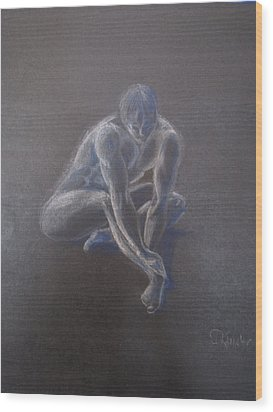 Male Figure In Contemplation Wood Print