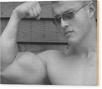 Male Muscle Art  Poser Wood Print by Jake Hartz