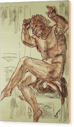 Male Nude Figure Drawing Sketch With Power Dynamics Struggle Angst Fear And Trepidation In Charcoal Wood Print by MendyZ M Zimmerman