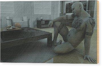 Male Nude Study Wood Print by Maynard Ellis