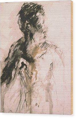 Male Portrait 3 Wood Print by Iris Gill
