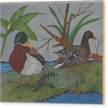 Mallards Wood Print by Tommy Combs