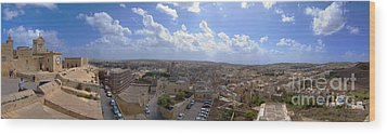 Malta Panoramic View Of Valletta  Wood Print by Guy Viner