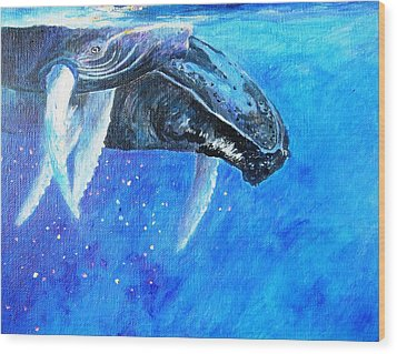 Mama And Baby Whale Wood Print by Tamara Tavernier