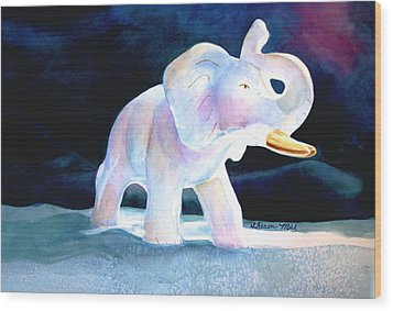 Wood Print featuring the painting Mama's White Elephant by Sharon Mick