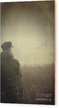 Man Alone In Autumn Field Wood Print by Sandra Cunningham