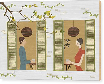 Man And Woman Drinking Coffee View From Window Wood Print by Eastnine Inc.