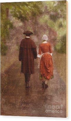 Man And Woman In 18th Century Clothing Walking Wood Print by Jill Battaglia