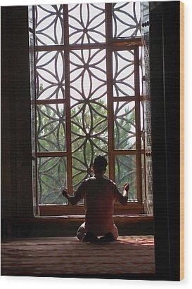Man At Prayer Wood Print by Sandy Collier