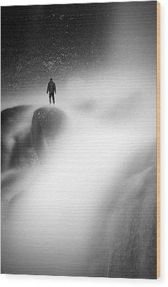 Man At Waterfall Wood Print by Micael  Carlsson