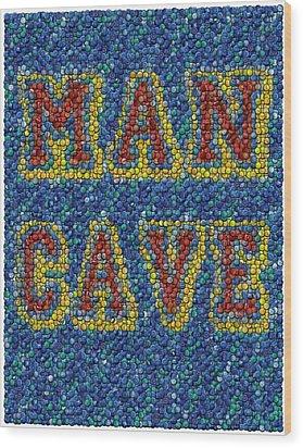Man Cave Bottle Cap Mosaic Wood Print by Paul Van Scott