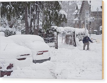 Man Clearing Snow, Braemar, Scotland Wood Print by Duncan Shaw