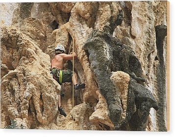 Man Climbing Rock Wood Print by Ulrike Maier