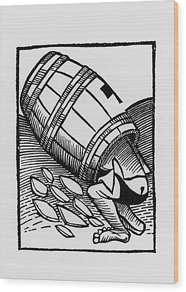 Man Collecting Tartar From A Empty Wine Barrel Wood Print by